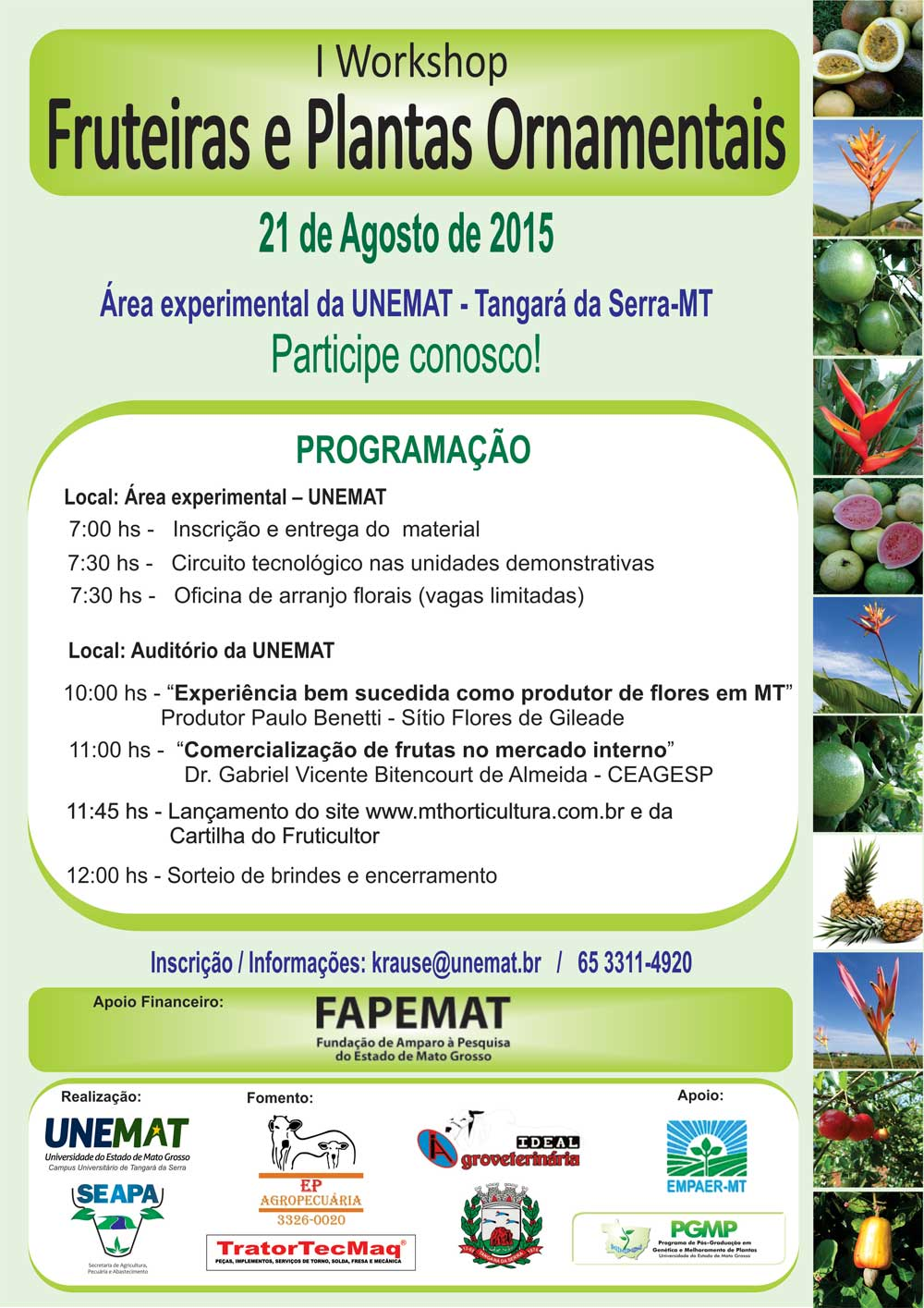 I Workshop de fruteiras e plantas ornamentais nativas do estado de Mato Grosso