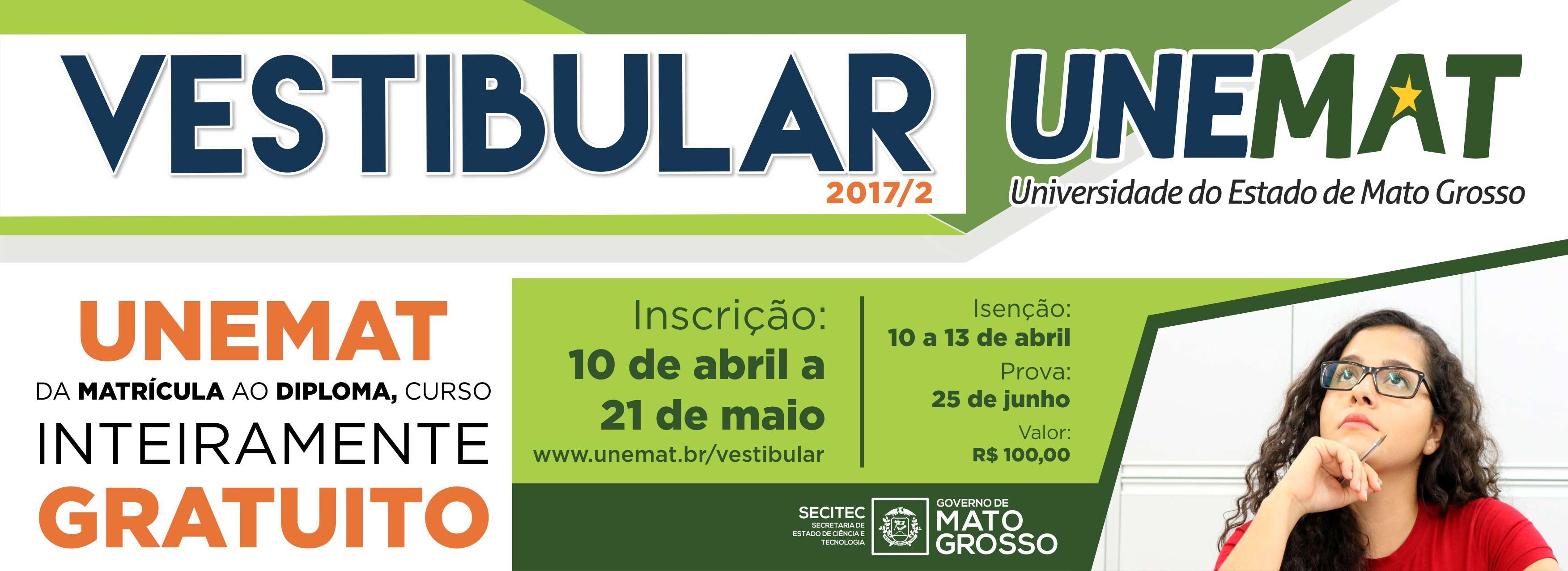 Abertas as Inscrições do Vestibular da UNEMAT para Ingresso em 2017/2